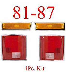 81 87 Chevy 4Pc Front Side Ambers & Tail Light Set, GMC, Truck, 88 91 Dually