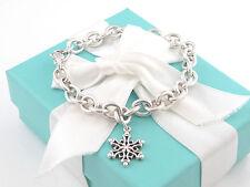 Tiffany & Co Silver Snowflake Charm Bracelet Box Included