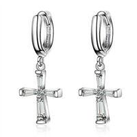 Women's 925 Sterling Silver Plated Austrian Crystal Cross Dangle Hoop Earrings