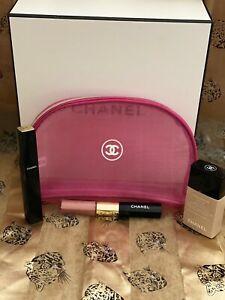 Chanel Beaute Cosmetic Make Up Bag Mesh Pink Lightweight USA Seller