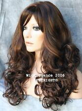 LATEST STYLE Long Wavy Curly Light Brown Auburn  Mix Wig WACA 6-30 with Bangs
