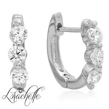 0.6ct 3-Stone Round Screw Back Past Present Future Earrings 14 White Gold