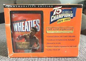 VINTAGE 1999 WHEATIES MUHAMMAD ALI 24K GOLD SIGNATURE COMMEMORATIVE CARD NOS