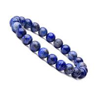 Natural 8mm Beads Stone Lapis Lazuli Healing Stretch Beaded Bracelet Unisex