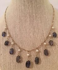 IOLITE Gemstone Briolette & PEARL Dangle Drop Neclace On Gold Link Chain