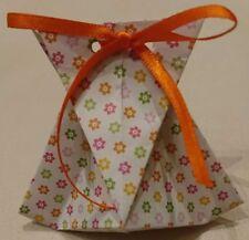 2x Tischdeko Gastgeschenk Goodie Give away Origami-Tasche Weiss mit Blume Unikat