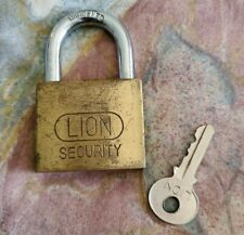Vintage LION SECURITY Brass Padlock Lock with Key: Works Great!
