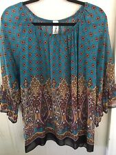 R Rouge Women's - 3/4 Wide Sleeves Simi Sheer Geometric Tunic Top Size Large