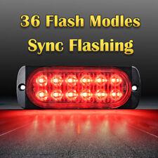 12 LED Car Truck 36W Emergency Hazard Warning Beacon Strobe Light Bar Grill Red