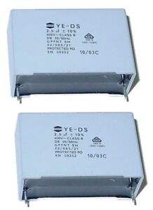 2 x MKP Kondensator 2,5µF 400Volt ~  RM 40mm Teapo