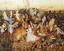 Victorian Fairy Fantasy Painting w/ Rabbit Fitzgerald Real Canvas Art Print