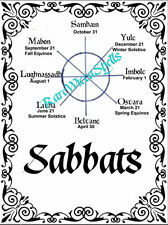 NEW Sabbats Wicca Pagan Book of Shadows Divider Cover Page on 1 pg Parchment