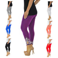 Womens Ladies Slim Leggins Stretchy Fitness Printed Pants Trousers Basis Tights