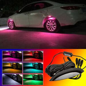 4x Pink LED Car Wheel-Well Neon Glow Lights Fender Lamp Strobe Breathing 3 Mode
