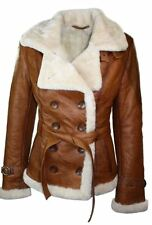 Ladies Women Real Shearling Sheepskin Aviator Tan Brown Leather Jacket