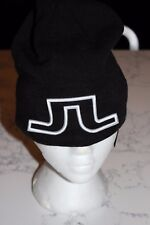 New J Lindeberg Big Logo Hat Beanie Wool Blend Black O/S Jl Golf Winter Toque
