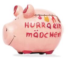 Sparschwein Geburt Hurra ein Mädchen Spardose Sparbüchse Keramik Geldgeschenk