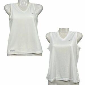 Under Armour & Reebok Running Athletic White Sleeveless Lot of 2 Womens Shirts