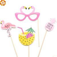 20pcs Flamingo Theme Party Summer Photo Booth Props Stick Wedding Beach