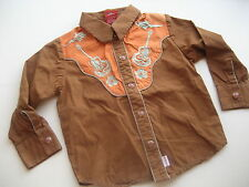 SMALL PAUL FRANK BABY BOYS COWBOY GUITAR SHIRT 2T SNAP FRONT BROWN