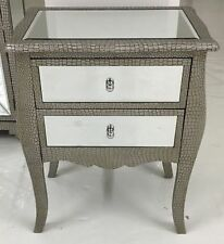 MOC Croc Embossed Mirrored 2 Drawer Bedside Cabinet/ Table