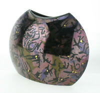 Steuler Design Keramik Vase 70/80er Yuppie Style abstrakt dunkel lila glänzend