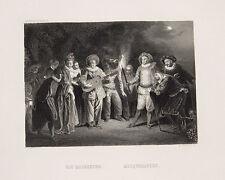 Jean Antoine Watteau ballo in maschera mascherata Masque DANZA MUSICA CHITARRA TORCIA NOTTE