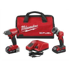 "MILWAUKEE M18 3/8"" Drive Cordless Impact Wrench with 2 Batteries Charger & Light"