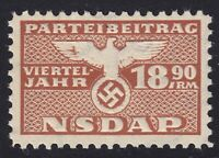 Stamp Germany Revenue WWII 1935 3rd Reich War Era Party Dues 18.90 MNH