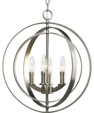 4-Light Foyer Pendant Light, Burnished Silver