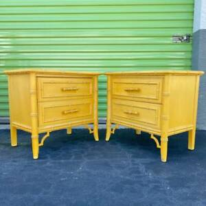 Set of 2 Nightstands by Dixie Aloha - Vintage Faux Bamboo Hollywood Regency