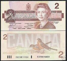 CANADA $2 P94B 1986 QUEEN ELIZABETH BIRD UNC BANK NOTE