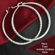 925 Sterling Silver Plated Smooth Circle Big Textured Round Creole Hoop Earrings