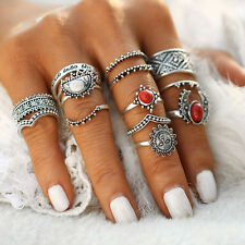 Vintage 14Pcs/Set Red Stone Knuckle Midi Mid Finger Rings Women Jewelry Gift