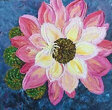 ORIGINAL Signed Acrylic Palette Knife Painting Cactus Floral Garden Texture
