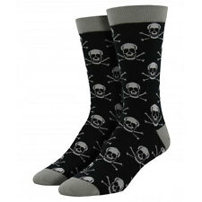 Socksmith Men's Bamboo Crew Socks Skull and Crossbones Black Novelty Footwear