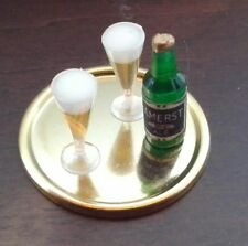 Dollhouse Miniature Beer Bottle on Tray & 2 Filled Pilsners.assorted 1:12 scale