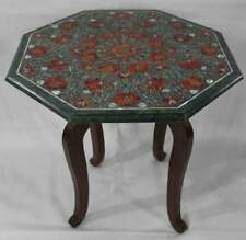 """18"""" Green Marble Table Top Semi Precious Stones Floral work With Wooden Stand"""