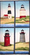 """Lighthouse Scenes Fabric ~100% Cotton 24""""X44"""" Panel ~ Seaside Escape Beach Ocean"""