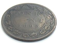 1893 C4 Canada One 1 Cent Large Penny Copper Circulated Victoria Coin K050