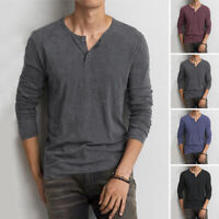Men's Long Sleeve Solid Pullover Crew Neck Casual Button Henley Shirt Top Blouse