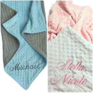 Personalized Custom  Reversible Dot Minky Baby Blanket --Newborn or Shower Gift