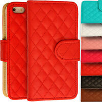 PU Leather Wallet Cover Quilted Magnetic Stitched Case for Apple iPhone 5/5s 5c