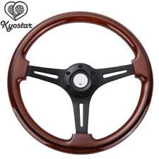 350mm Walnut Wood Grain Black Spoke Classic Wooden Steering Wheel 2'' Deep 6Bolt