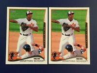2014 Topps #83 Jonathan Schoop Rookie Lot 2 Cards Baltimore Orioles