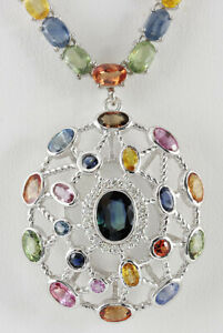 51.49 Carat Natural Sapphire 14K White Gold Diamond Necklace