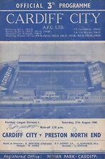 Aug 60 Cardiff City v Preston North End