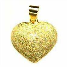 """18K Gold over 925 Silver Reversible Polished/Brushed Puffed Heart Necklace, 18"""""""