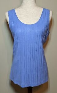 Chico's Size 2 Women's Blue Tank Top Shimmer Scoop Neck