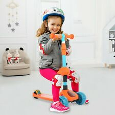 2 In 1 Kids Kick Scooter With 3 Flash Wheels & Adjustable Folding Seat Portable